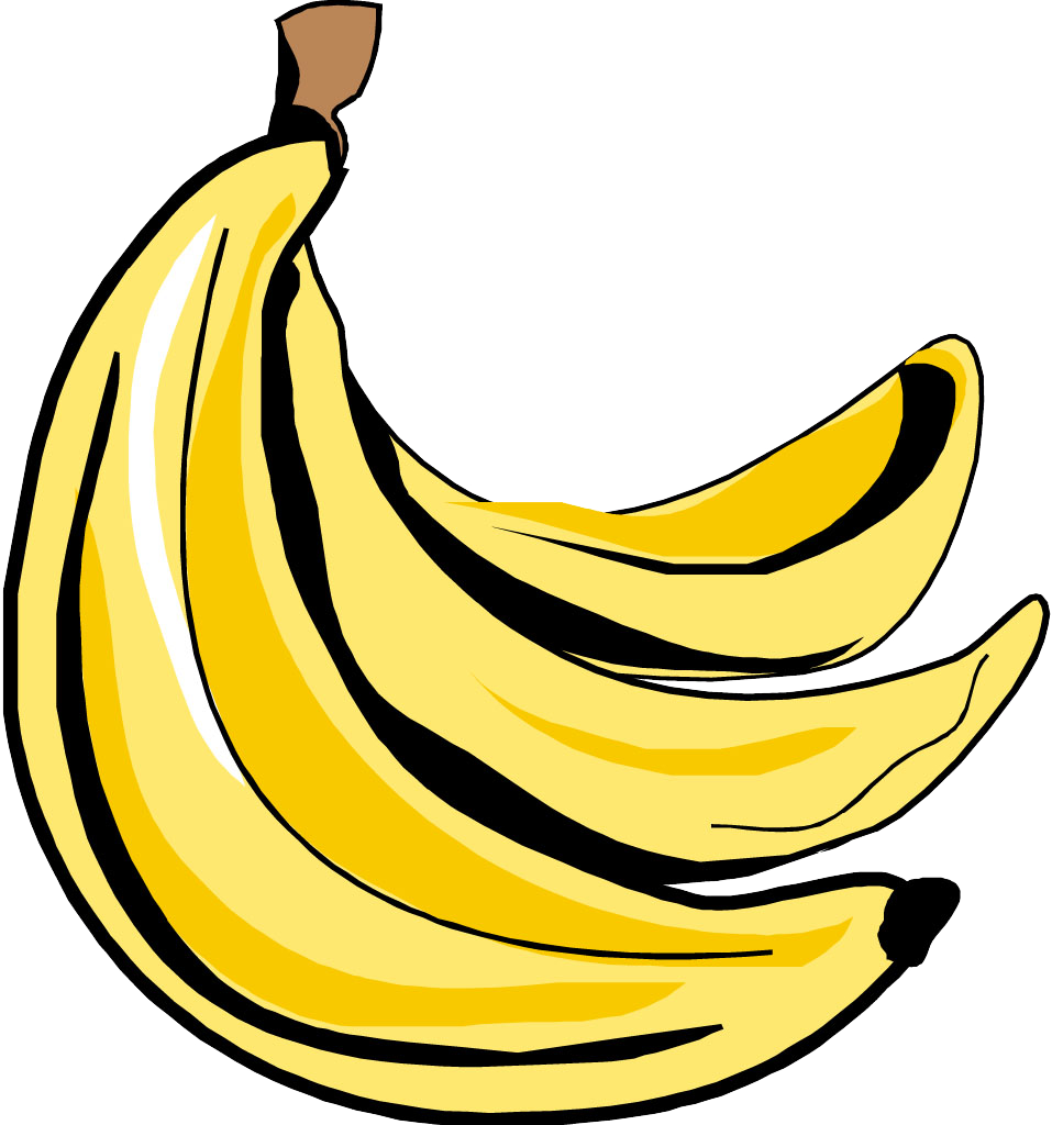 Banana art transprent png. Banan clip banner black and white library