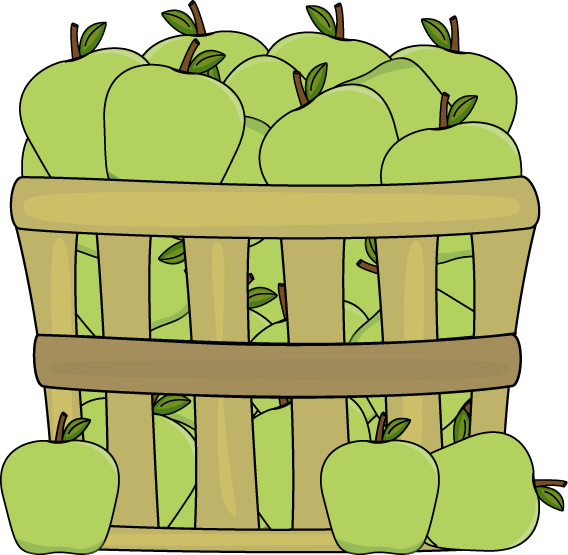 Banana clipart basket. Of green apples clip