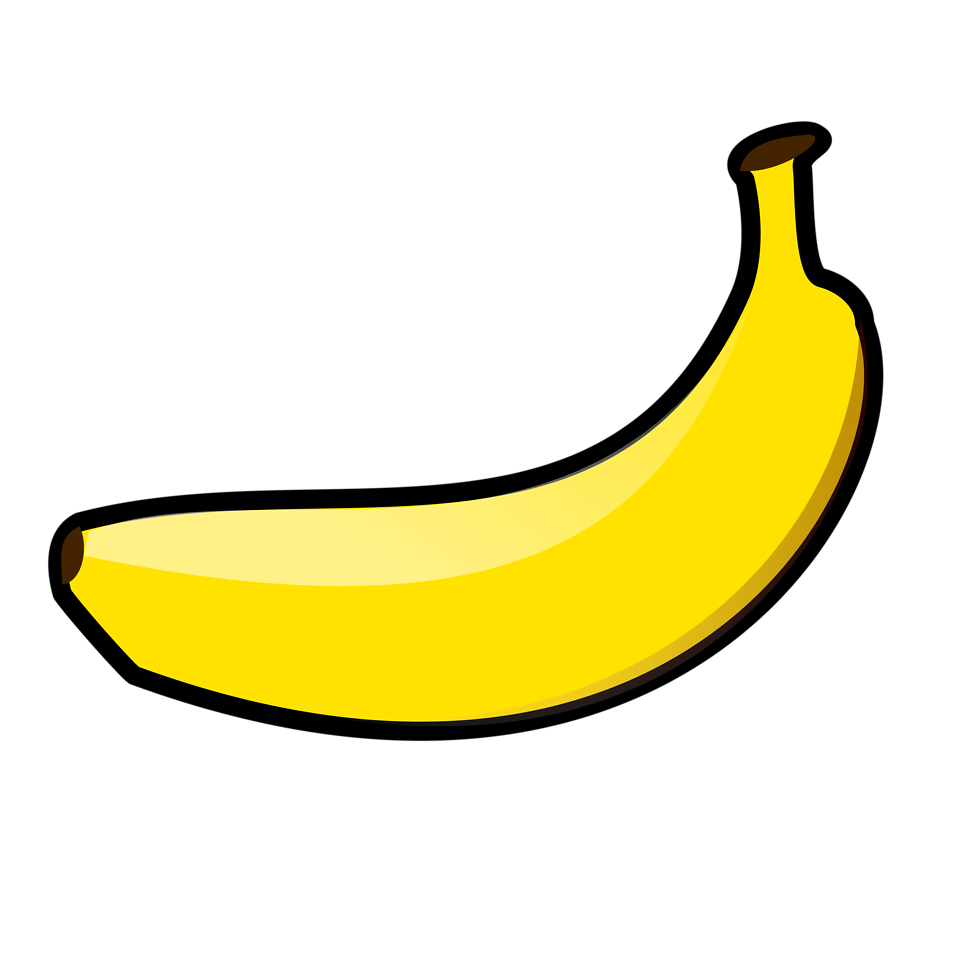 Banana clipart transparent background. Pencil and in color
