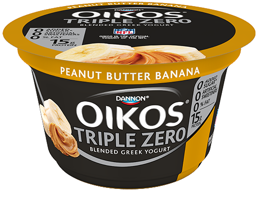 Bananas with peanut butter png. Dannon oikos triple zero
