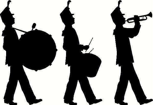Band clipart soldier march. Soldiers marching silhouette at