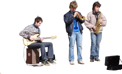 Band playing png. Clipped streetmusiciansmenfront