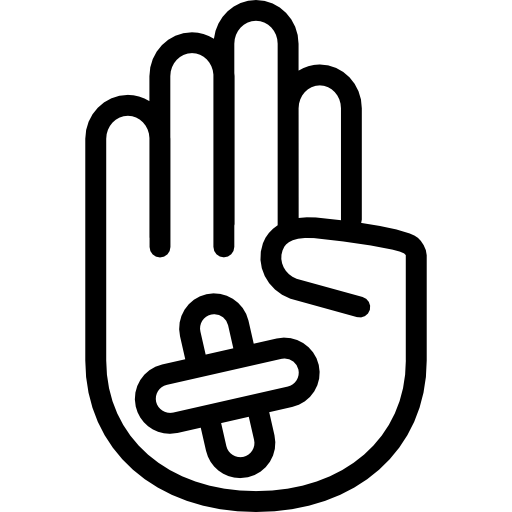 Band aid logo png. Hand showing palm outline