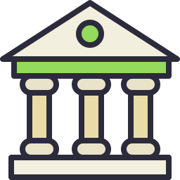 Bank clip commercial. Icon outline filled shop