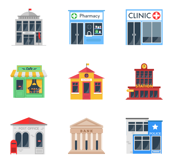 Vector buildings illustrator. Supermarket library download