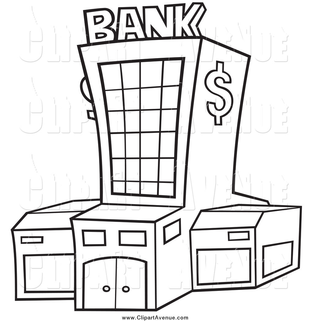 Banker clipart clip art. Bank black and white