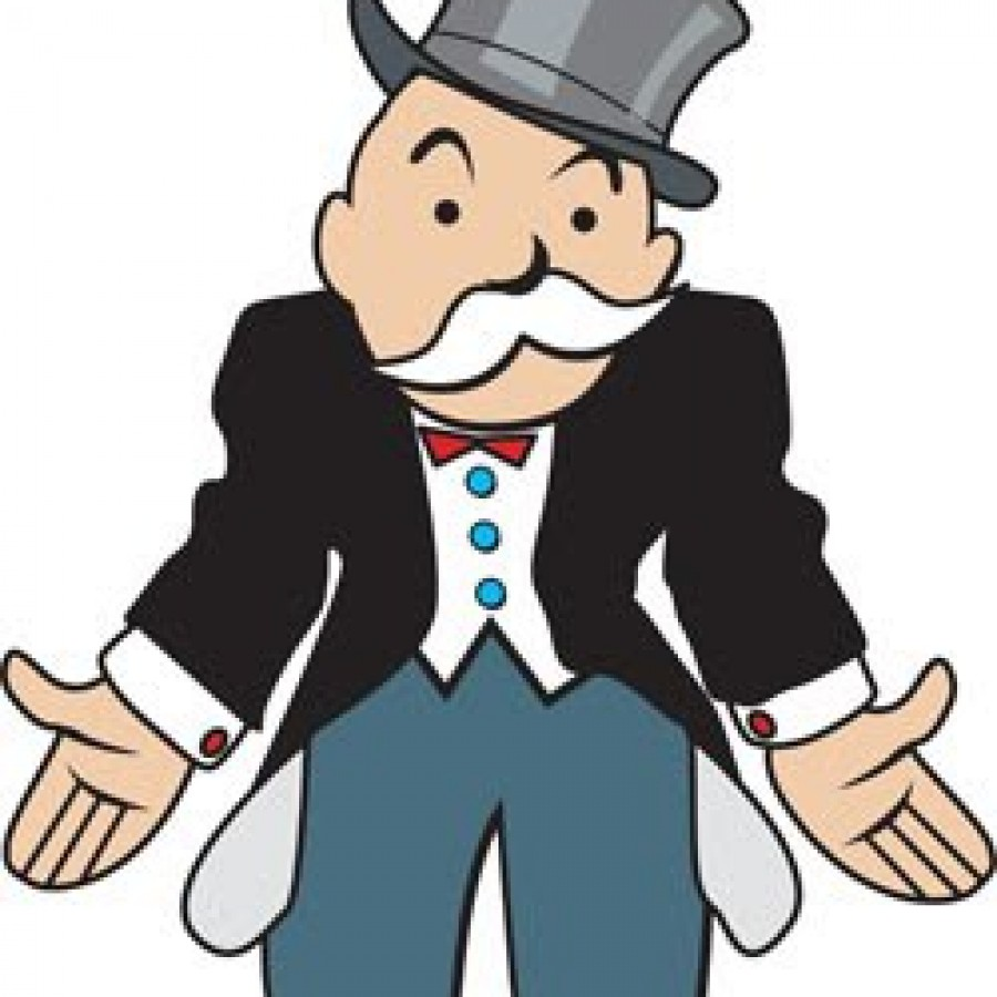 Banker clipart monopoly. With empty pockets russellrjames