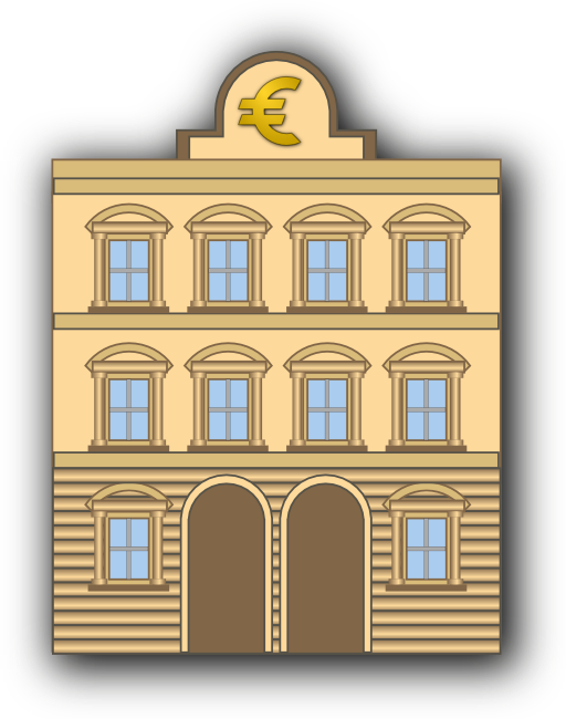 Banker clipart public space. Bank building with euro