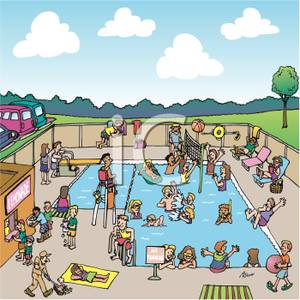 Banker clipart public space. Busy swimming pool royalty
