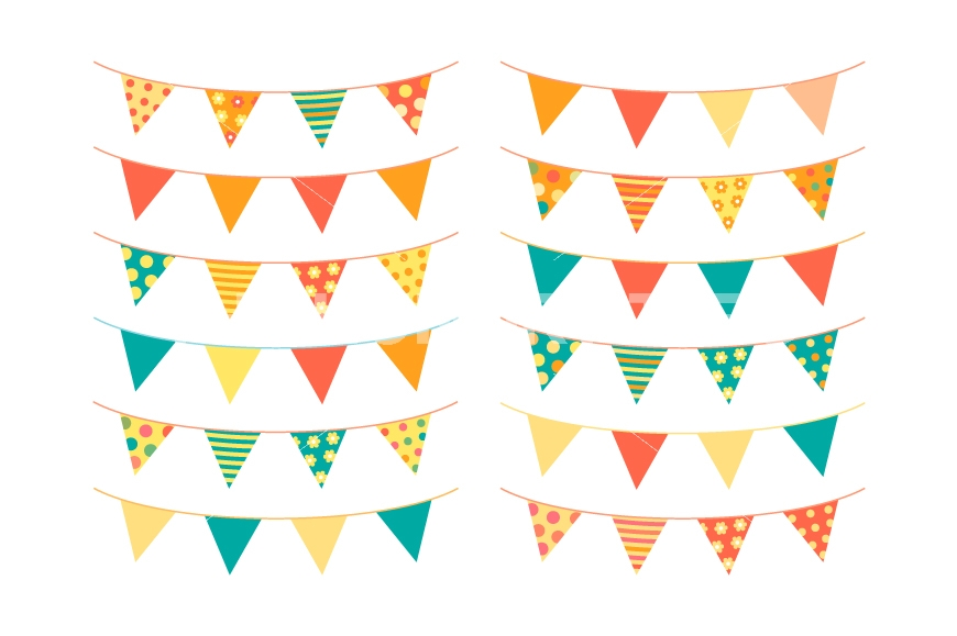Banner clipart summer. Cute bunting birthday flags
