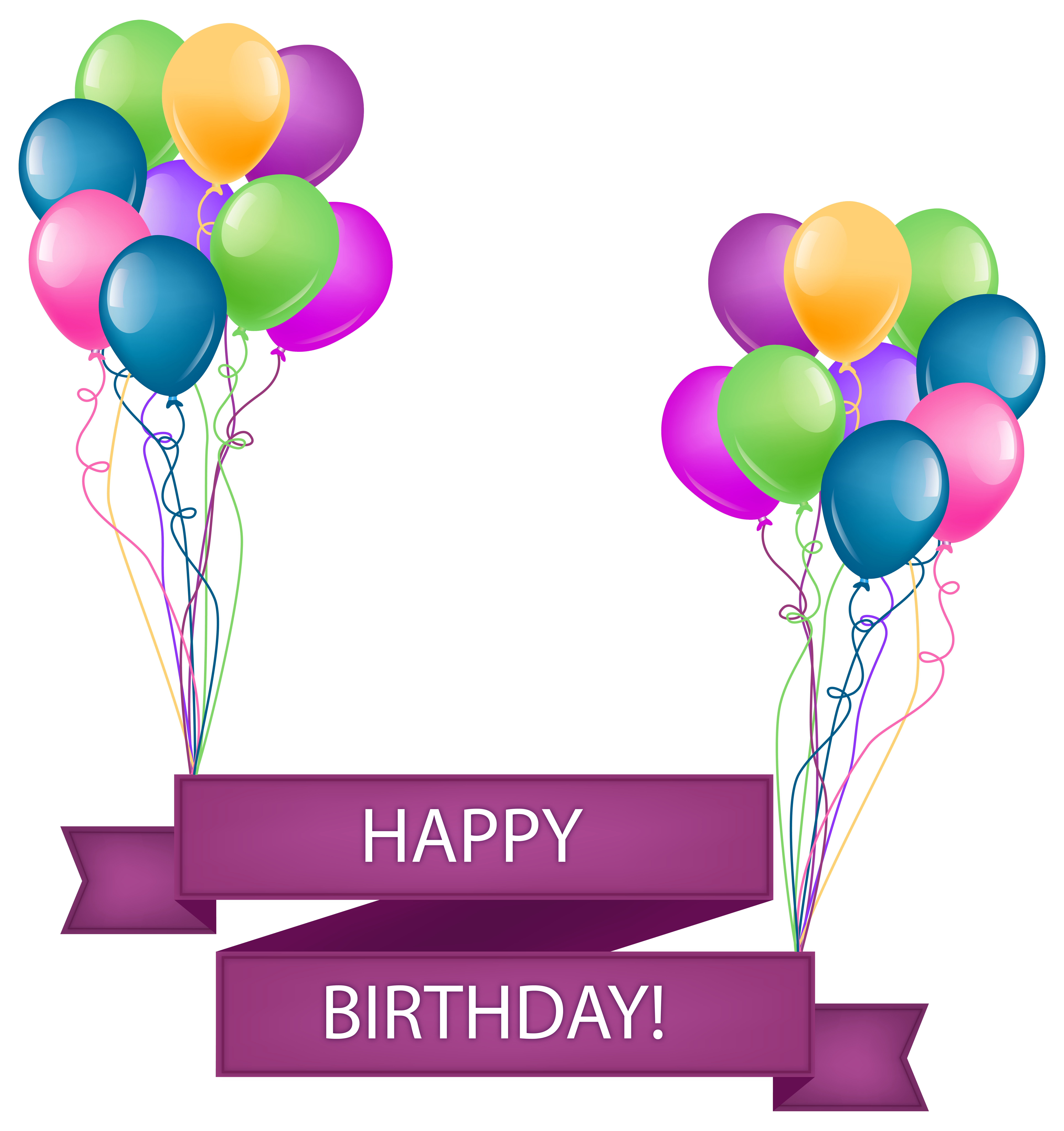 Banner gif png. Happy birthday with balloons