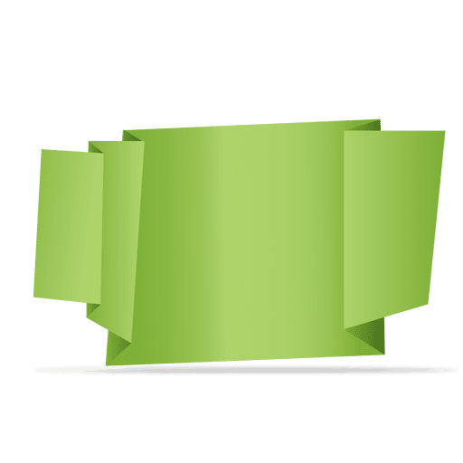 Banner png green. Folded origami transparent svg