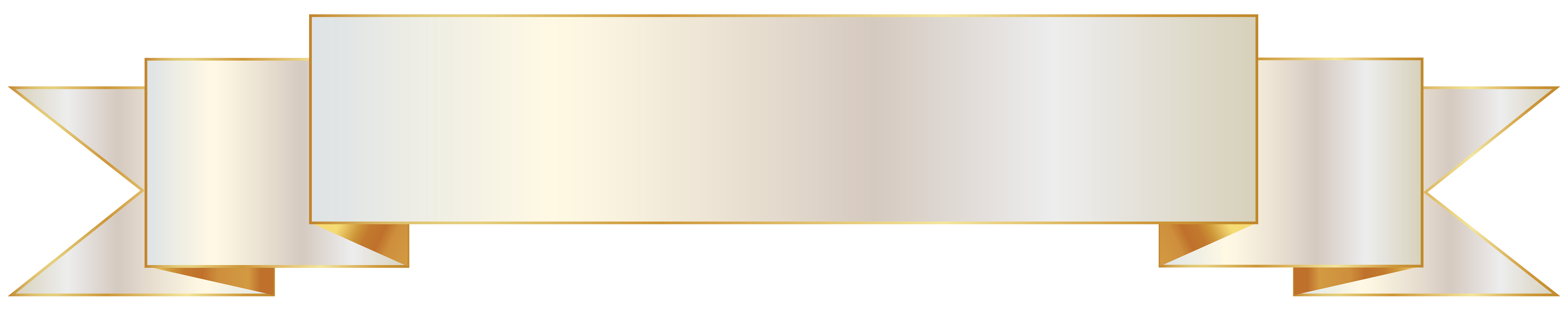 Banner png white. And gold clipart image