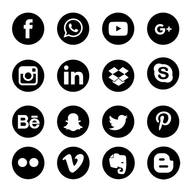 Social Media Icons Set Network Background