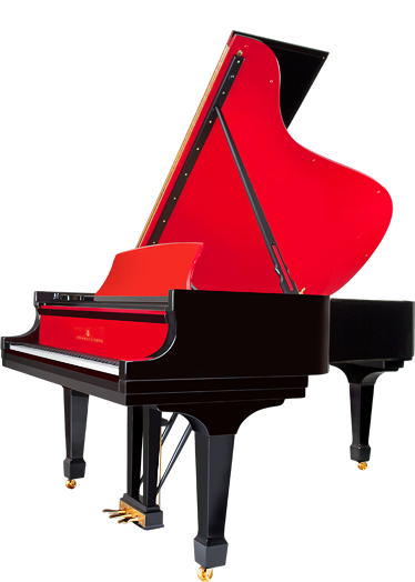 Beethoven drawing grand piano. Red pops vibrant color