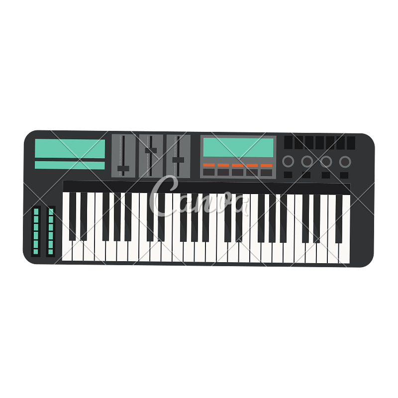 Banner with colored piano keys png transparent. Electronic keyboard icon icons