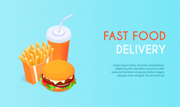 Banner with fast food with cola. Hamburger and fries