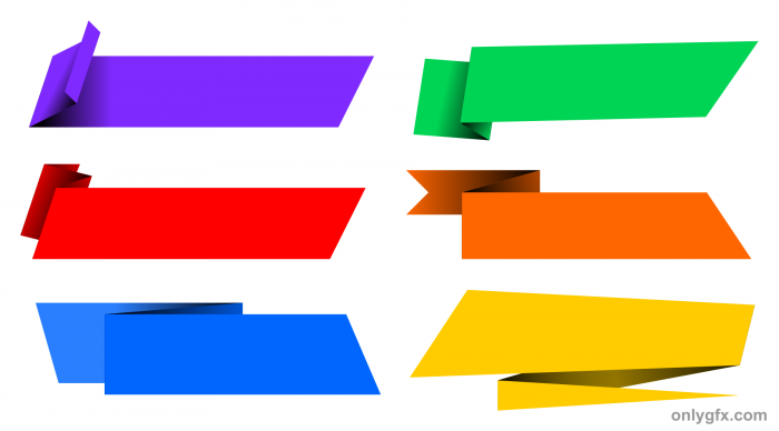 Banners clipart rectangle. Origami banner vector