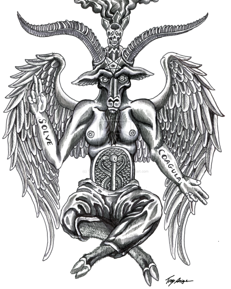 Occult drawing tattoo. Baphomet google search female