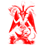 Baphomet transparent red. Woodcut by spreadshirt