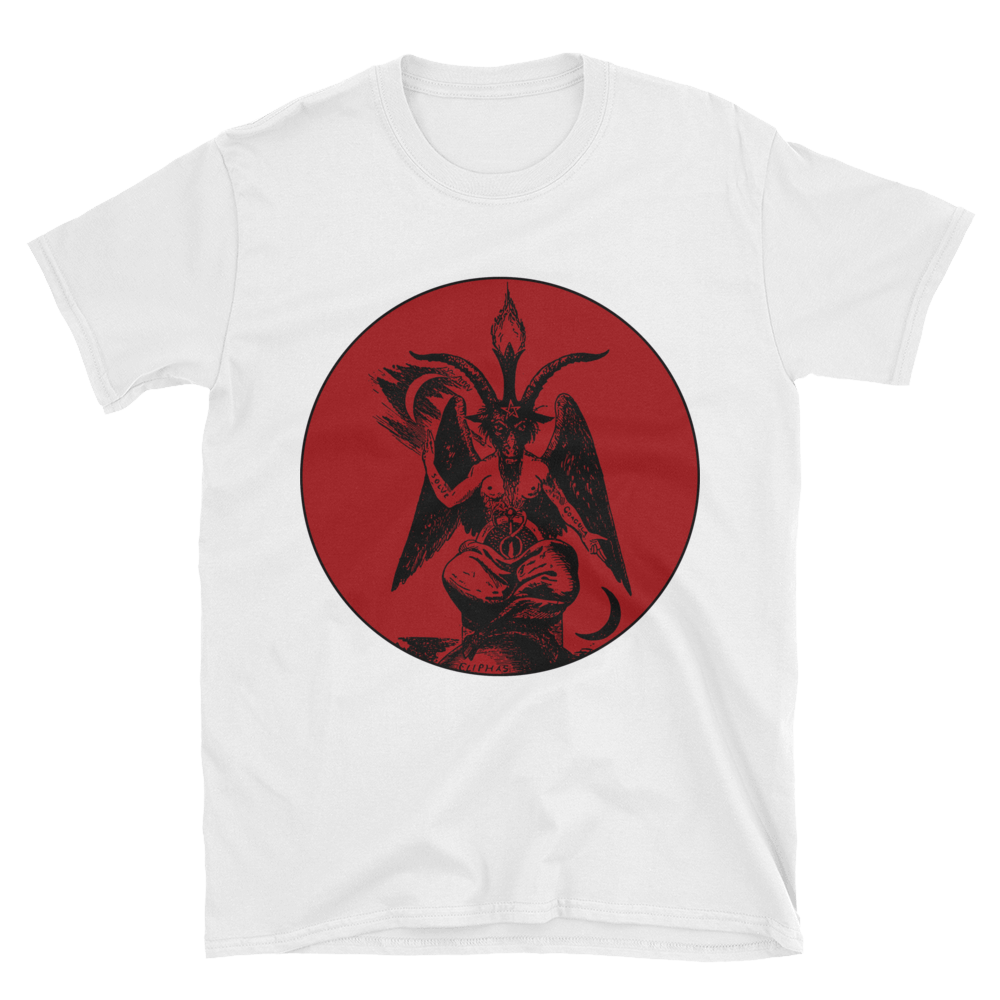 Baphomet transparent red. Tee light field of