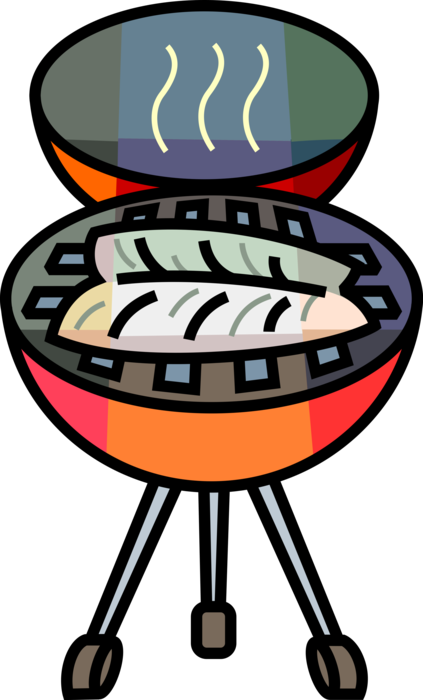 Barbecue vector cooking. Fish fillet grilling on