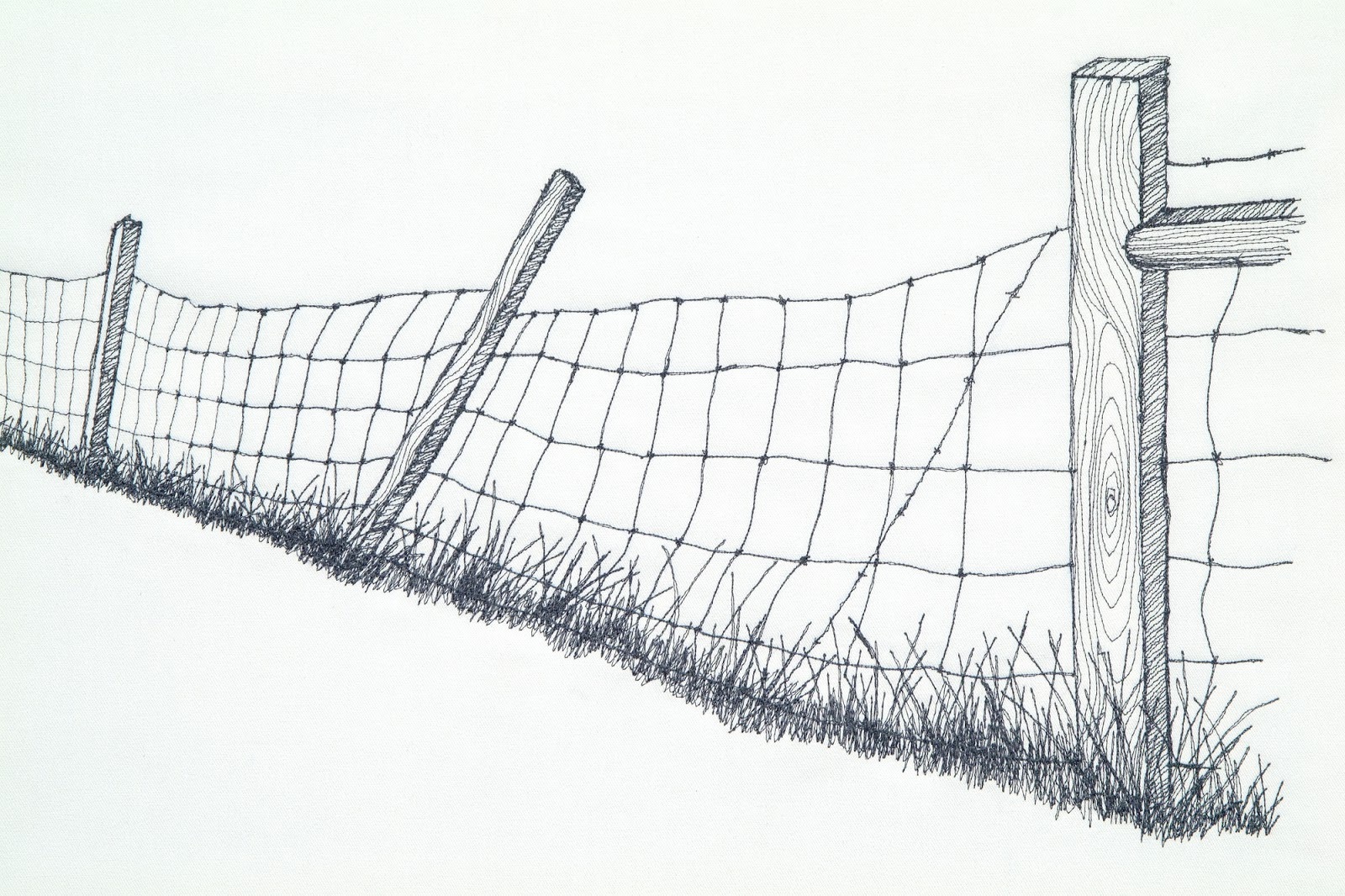 Barbed wire clipart easy. Fence drawing