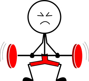 Barbell clipart cartoon. Weightlifter image struggling with