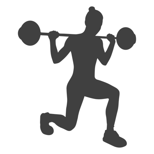 Barbell transparent silhouette. Woman lunges png svg