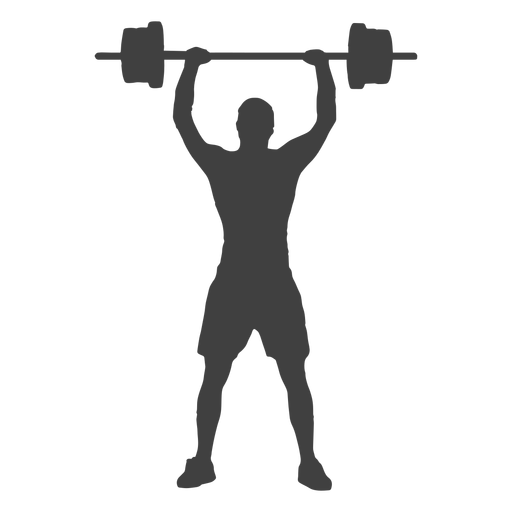 Barbell transparent svg. Man overhead press silhouette