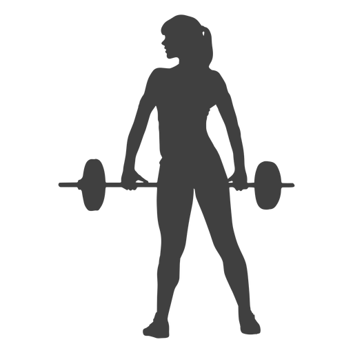 Squat vector holding. Woman barbell silhouette transparent