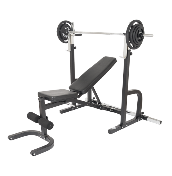Barbell transparent weight attached. Squat rack bench standard