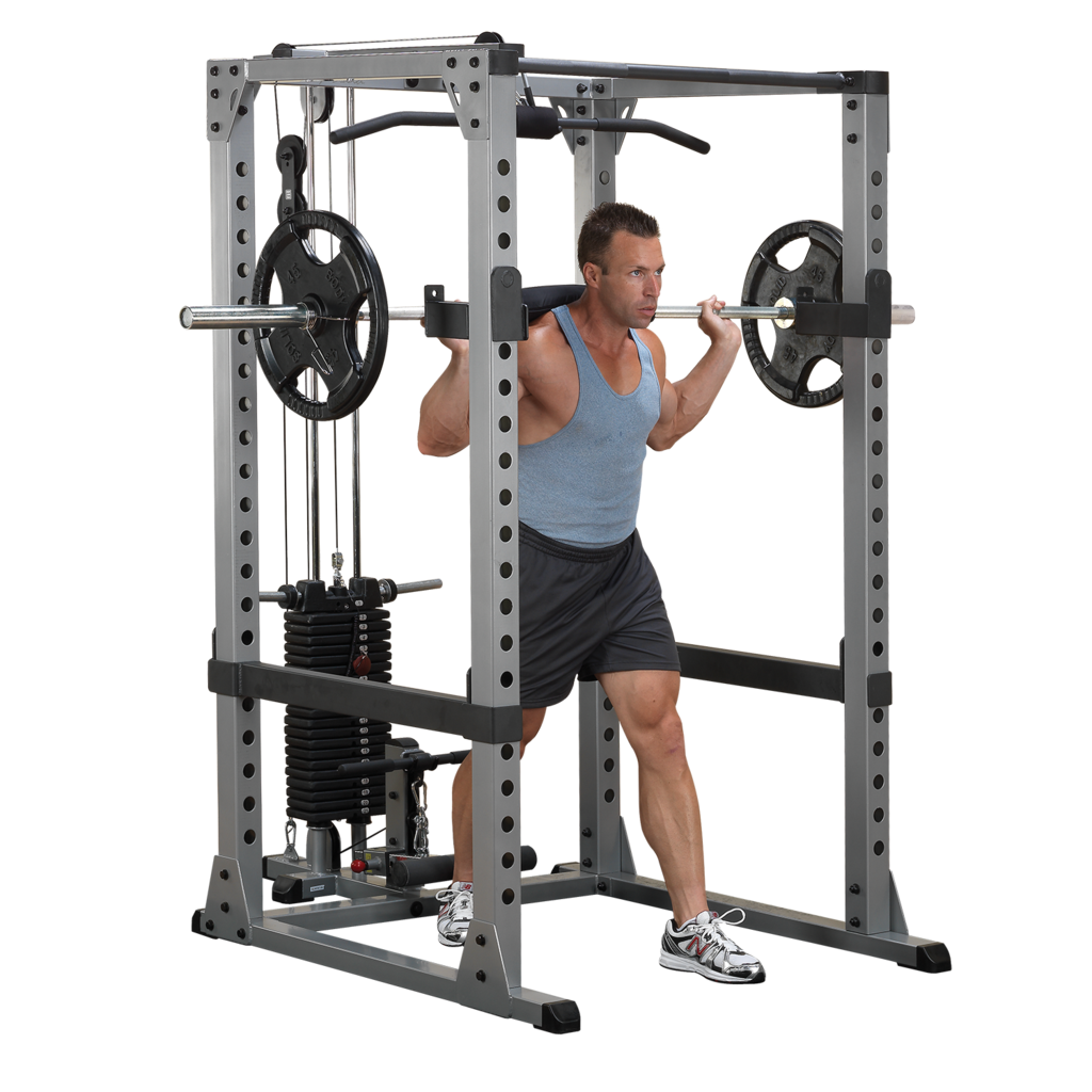 Barbell transparent weight attached. Body solid power rack