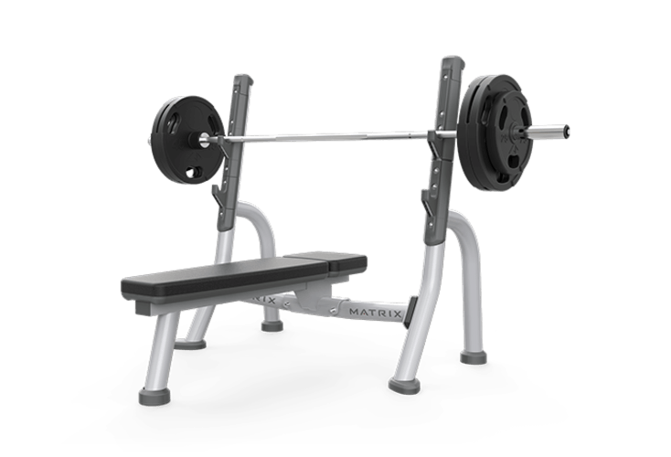 Barbell transparent weight attached. Olympic flat bench free