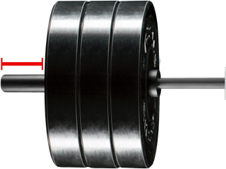 Barbell transparent weight attached. F scale overview the