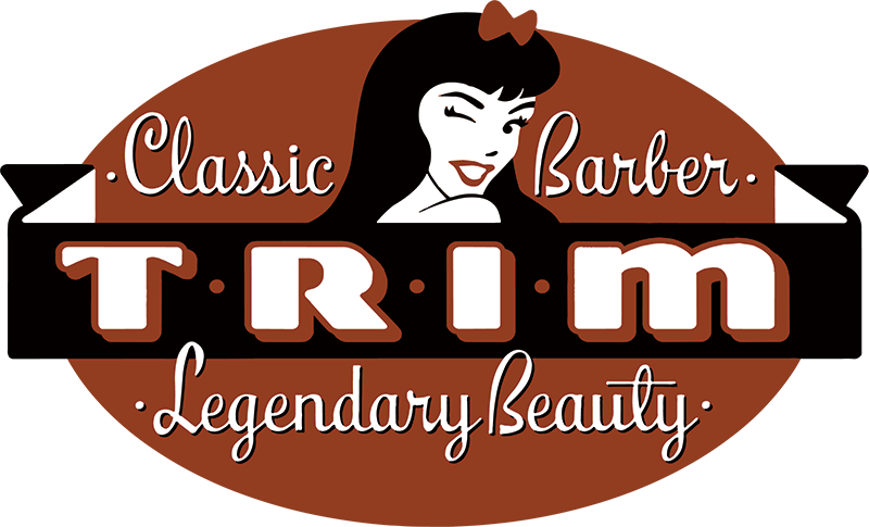 Cosmetology drawing barber shop logo. Trim classic legendary beauty