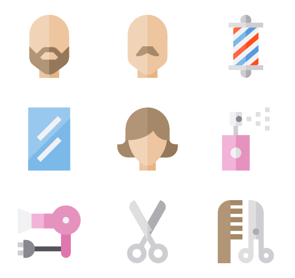 Barbershop vector hair style. Hairstyle icons free hairdressing