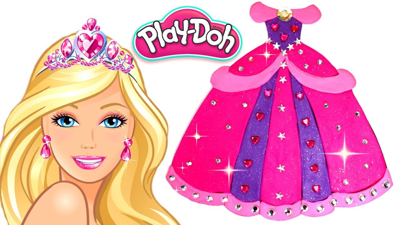 Barbie clipart pink. Play doh dress for