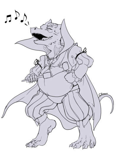 Bard drawing. Commission kobold by thefaefae