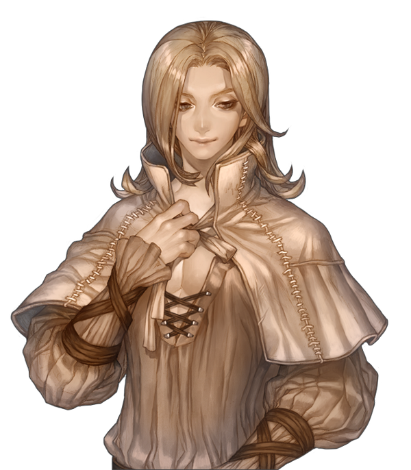 Bard drawing male. Androgynous human noble blonde