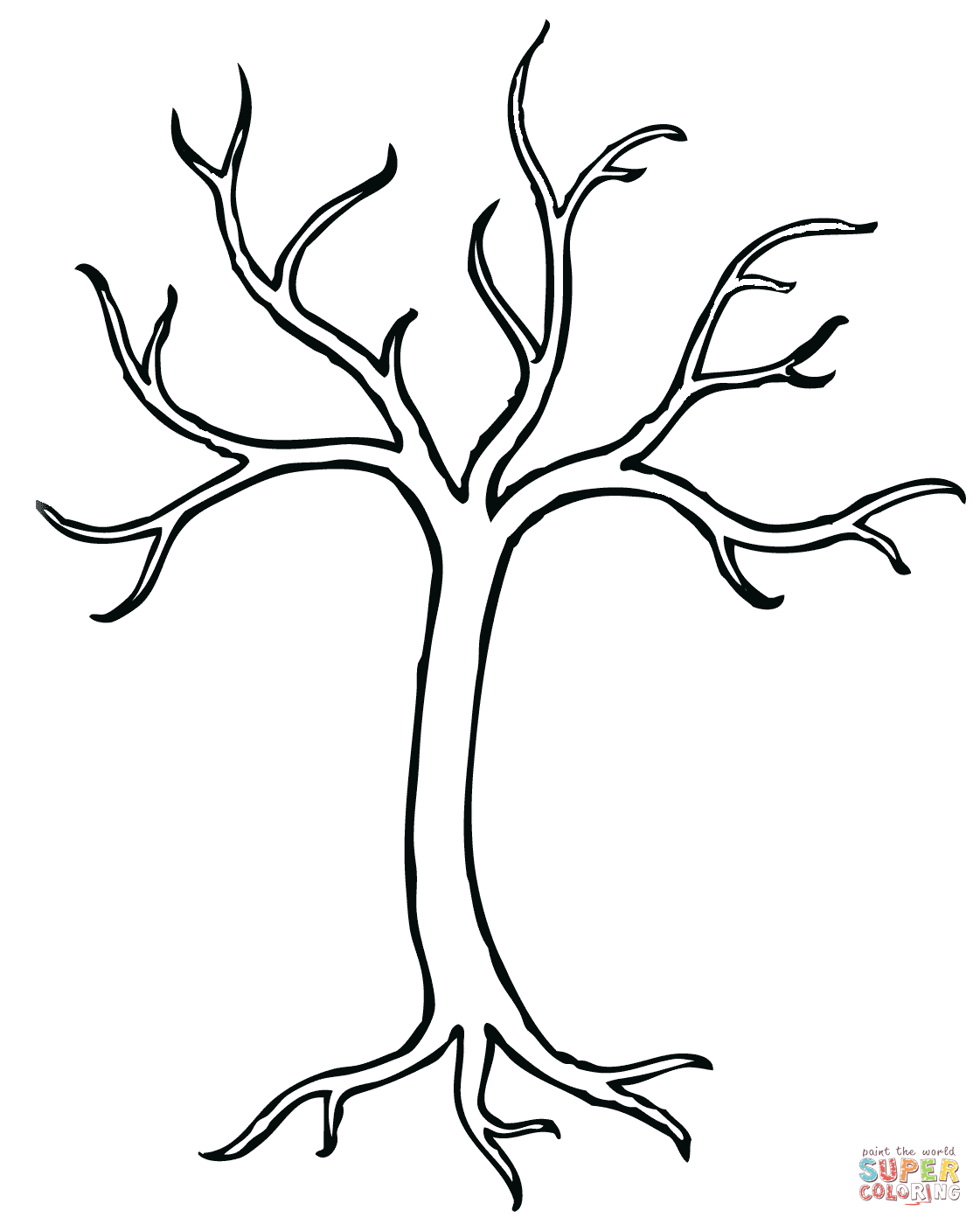 Bare clipart cartoon. Tree coloring page from