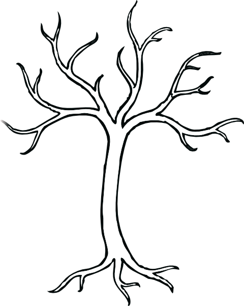 Bare clipart leaves. Coloring tree clip art