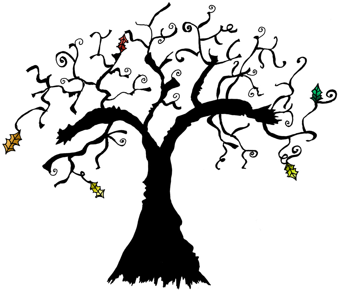 Bare clipart spooky tree. Scary trees drawing at