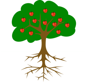 Bark drawing apple tree. With roots clip art
