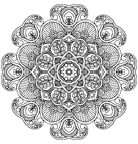 Bark drawing zentangle. Mandala adult coloring therapy