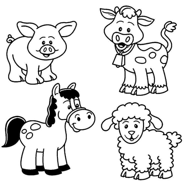Barn clipart coloring page. Baby farm animal pages