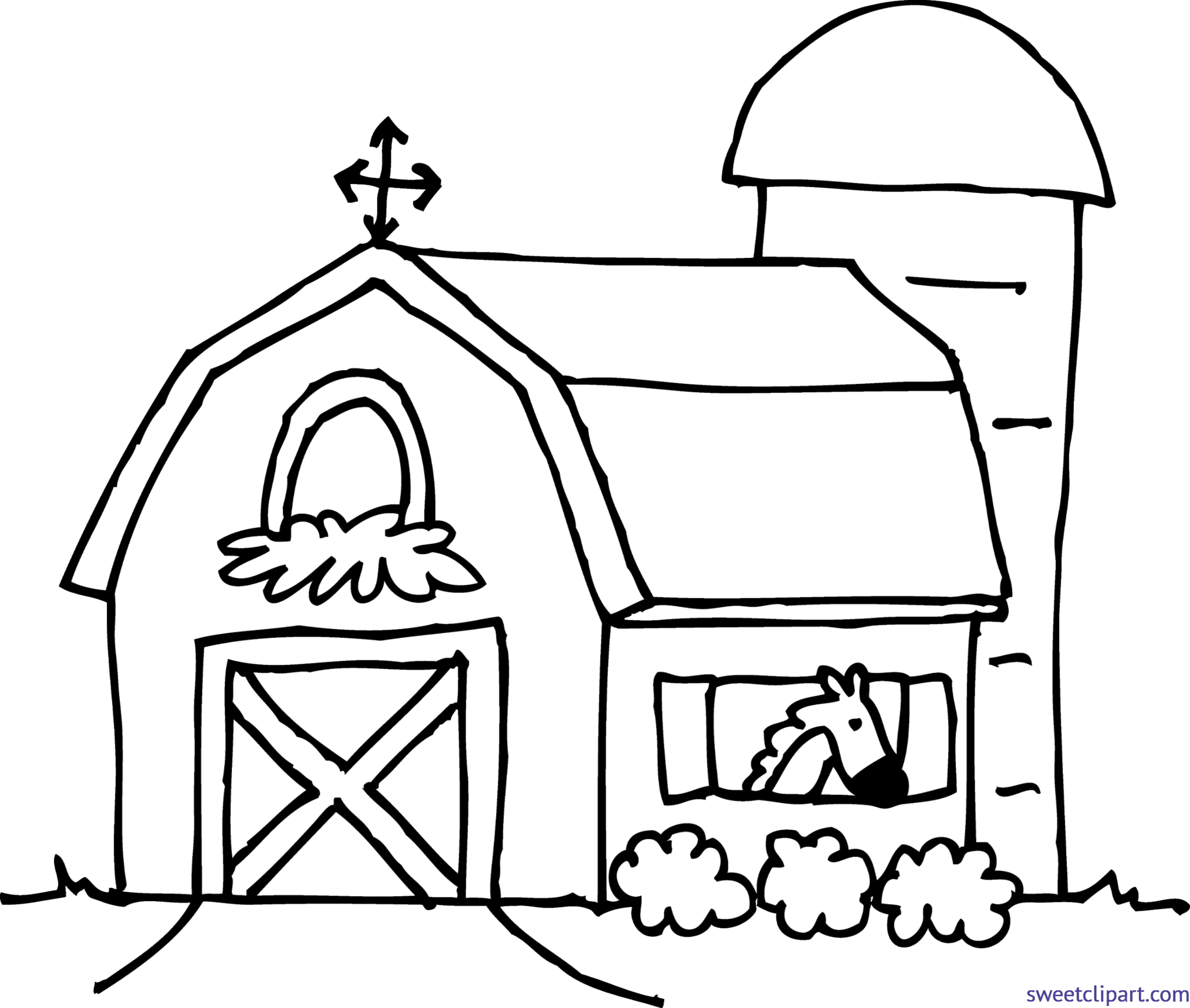 Barn clipart coloring page. Clip art sweet