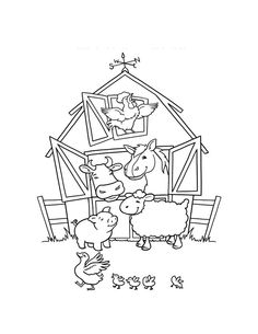 Barn clipart coloring page. Funny animals farm black