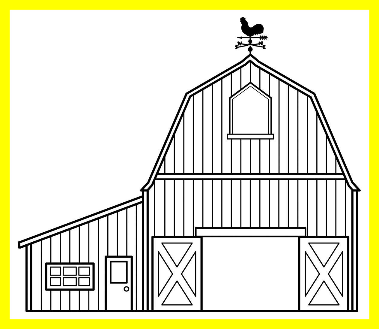 Barn clipart coloring page. Unbelievable horse image grig
