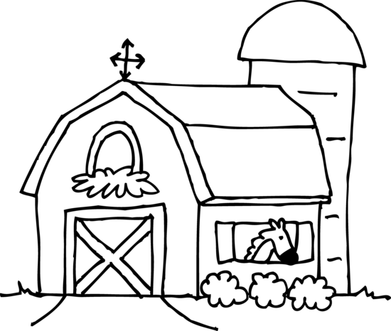 Barn clipart farmhouse. Coloring page